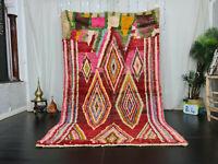 "Moroccan Handmade Boujaad Wool Rug 5'4""x8'8"" Geometric Red Pink Berber Carpet"