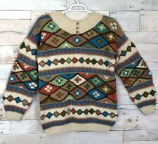 Roberta Frost 100% Wool Aztec Print Art 1/4 Button Pullover Sweater Women Large