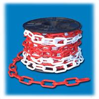 Absperrkette Kunststoff, Ø 8 mm, Glied 24 x 49, Rot /Weiss, PE, 1 Meter