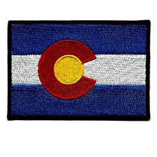 "COLORADO STATE FLAG IRON ON PATCH 3"" Blue Red Yellow Embroidered Applique Biker"
