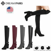 DREAM PAIRS Womens Fashion Over The Knee Boots Chunky High Heel Thigh High Boots
