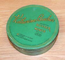 Vintage Katharine Beecher Original Butter Mints Green Collectible Round Tin