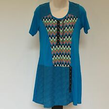 'WHISPERS' BNWT SIZE 'S' AZTEC PRINT SHORT SLEEVE COTTON TOP WITH BUTTON DETAIL
