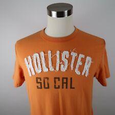 Hollister Mens Cotton Short Sleeve Crew Neck Orange Messy Stitched T Shirt XL