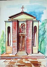 Acquerello '900 su carta Watercolor Architettura futurista cubista razionale-60