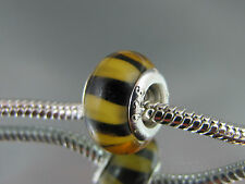"""925 STAMPED """"TIGER"""" PATTERN MURANO GLASS BEAD EURO STYLE CHARM BRACELETS #DC 112"""