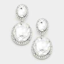 """2"""" Long Double Oval Clear Glass and Silver Tone Chandelier Earrings"""