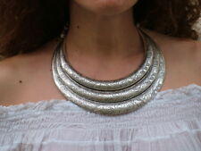 COLLANA RIGIDA NECKLACE COLLAR ARGENTO SILVER ETNICO HIPPY GIPSY VINTAGE BOHO 1