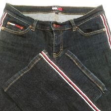 VTG Tommy Jeans Hilfiger Womens Side Stripe Spell Out Logo Straight Leg Sz 5 EUC