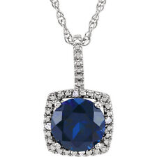 Blue Sapphire Lab Created  & Real Diamonds Pendant Necklace 925 Sterling Silver