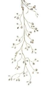 Melrose 5' Clear Icy Gem on Gold Wire Strand Christmas Garland