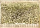 1909 Map Los Angeles Aerial Birdseye View Wall Art Poster Print History 11'x16'