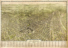 1909 Map Los Angeles Aerial Birdseye View Wall Art Poster Print Vintage History