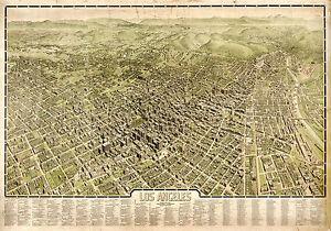 "1909 Map Los Angeles Aerial Birdseye View Wall Art Poster Print History 11""x16"""