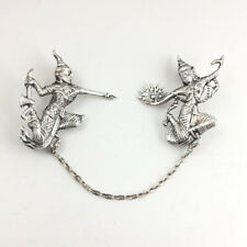 Vintage Siam Silver Mekhala Ramasoon Double Brooch with Chain