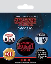 Official Stranger Things Upside Down Badge Pack Of 5 Novelty TV 11 Gift