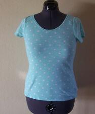 Women's Elle Polka Dot Print Aqua & White Short Sleeve Knit Top Medium