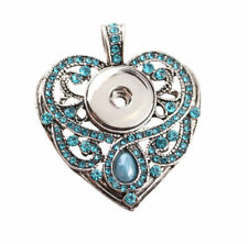 Necklace Fit 18mm Noosa Snap Button New Crystal Heart Chunk Drill Pendant