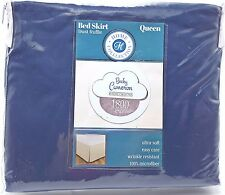 Queen Navy Bed Skirt Dust Ruffle Tailored 14 in Drop Becky Cameron New