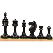 """3.6"""" Old English Series Pre Staunton Chess Pieces Only Set - Weighted Ebony Wood"""