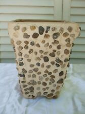 "Square Cement w Stones Small Planter 7"" Tall Shabby Cottage Beige Color"