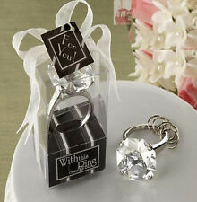 FD4518 Big size Faux Diamond Ring Keychain Wedding Bridal Shower 3cm x 5cm white