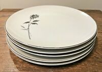 BRISTOL FINE CHINA JAPAN RENDEZVOUS LOT of 5 DINNER PLATES CHARCOAL ROSE VGUC