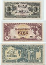 Malaya Japanese Invasion (JIM) $1, $5 and $10, dollar set of 3 pcs (UNC)