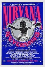Grunge: Kurt Cobain & Nirvana * Never Mind * Australian Tour Poster 1992 13x19