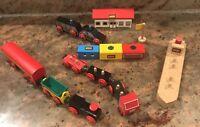 Vintage Brio Wooden Train Set Trains Polis Flag And Parts Vintage Toy Lot
