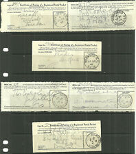6X CERTIFICATE OF POSTING OF A REGISTERED POSTAL PACKET 1909/47 GIPSY HILL ETC