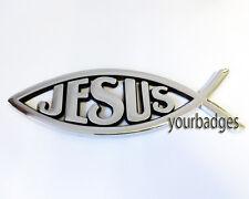 NEW Chrome ABS plastic JESUS Christian Fish Car Badge