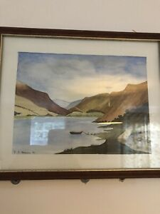 Watercolour Painting Hills Mountains Wales Signed Framed Green Brown Landscape