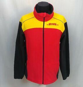 NWOT DHL Employee Uniform Fleece Jacket Zip Reflective Red Yellow Black Size L