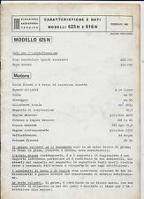 1965 FIAT 625 N - 616 N autocarro manuale caratteristiche e dati