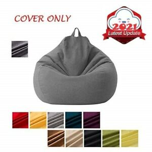 Large Small Lazy Sofas Cover Chairs without Filler Linen Cloth Lounger Seat Bean