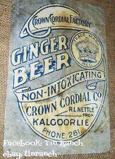 vintage KALGOORLIE GINGER BEER TIN SIGN nostalgia Western Australia old WA drink
