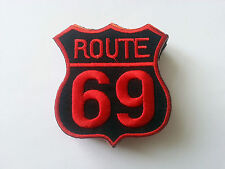 CLASSIC AMERICAN HIGHWAY ROAD SIGN SEW / IRON ON PATCH:- ROUTE 69 RED / BLACK