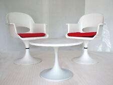 70er LOUNGE SET Paar / pair TULIP Stuhl chair + TULIP Marmor Tisch table 1970's