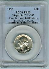 Rare PCGS PR1952 Superbird Quarter FS-902 with Hand Engraved Tail Feathers