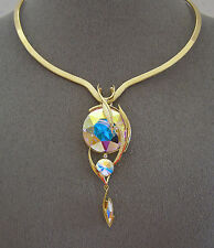 "SWAROVSKI AURORE BOREALE ELEMENTS TRIPLE CRYSTAL PENDANT and ""SCOOP V""  NECKLACE"