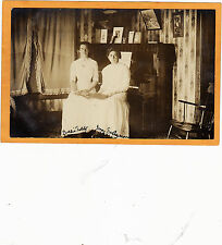 Real Photo Postcard RPPC - Two Women at Piano Looking at Photo Album