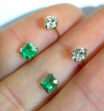 """Unique! 14K Yellow Gold Natural Diamond Colombian Emerald """"Telephone"""" Earrings"""