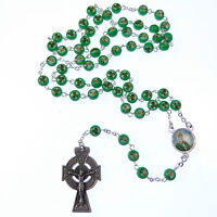 Bright green Irish St. Patrick rosary beads shamrock silver celtic crucifix