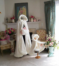 Winter Long Faux Fur Cape Wedding Cloaks Bridal Kids Flower Girls Retro Shawls