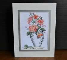 COMPLETED FINISHED CROSS STITCH CARD VASE FLOWERS MOTHERS DAY BIRTHDAY GIFT