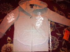 Holiday gift Mandarine XS Gray Zipper Sweatshirt Jacket Hoodie Pockets Patches