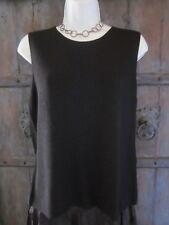 Eileen Fisher Women Tank Top Size Medium Black Silk Nylon Sleeveless Knit Blouse