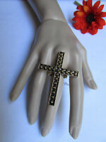 New Women Vintage Gold Ring Cross Metal Elastic Religious Fashion Jewelry Spikes