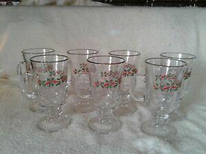 8 Arby's Christmas Glasses Holly Berry Irish Coffee Mug Cup